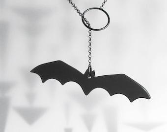 Halloween Bat Lariat Necklace Modern Fun Acrylic Plexi Sterling