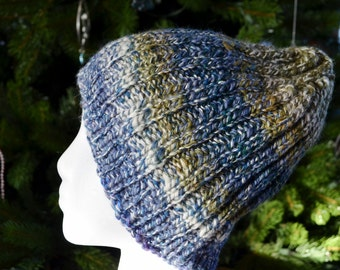 Classic Beanie - Hand Knit Handspun Hat for Men or Women in Marled Blues, White, Purple, & Olive Green. Multicolor Unique Subtle Striped Hat