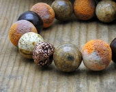 Mustard Chocolate Brown Modern Beaded Bracelet / Spice Colored Stretch Bracelet / Rustic / Woodland/ Handmade by Artist 100% / Saffron - cooljewelrydesign