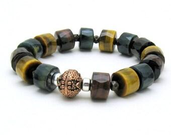 Tiger Eye Modern Beaded Bracelet, Geometric Stretch Bracelet with Sterling Silver, Unisex, For Her or Him Under 200