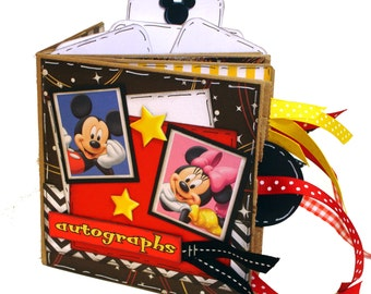 Disney Autograph Book - Disney Vacation Paper Bag Scrapbook -  Mickey and Minnie Scrapbook - Paper Bag Album