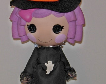 "Witch outfit for 13"" LaLaLoopsy doll with a witch hat."