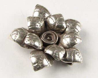 Pointed Petals Flower Hill Tribe Fine Silver .999 Charm Pendant (1 piece)