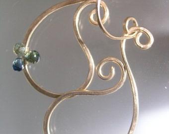 Blue Sapphire Gold Filled Paisley Earrings, Minimalist Dangles