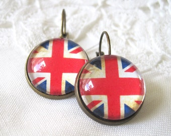 Union Jack British Flag Antique Brass Dangle Earrings