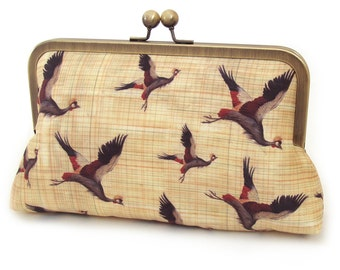 Clutch bag, printed silk purse, flying birds, cranes, ON SALE
