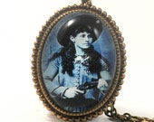 Sharp Shooting Annie Oakley Deluxe Necklace, From the Wild West, Vintage Historic Image
