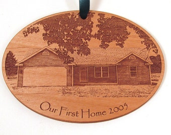 First Home Wooden Ornament - New Home - Custom Wood Photo Ornament