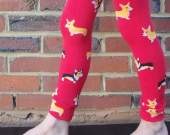 Corgi Dog Leg or Arm Warmers - Cute Childrens Leggings - Sizes for Infant, Toddler, Tween - Birthday or Baby Shower Gift for Boy or Girl -