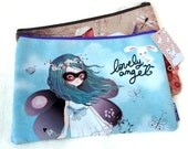 Sweet purse Make up  flat clutch thin Pencil case School illustration