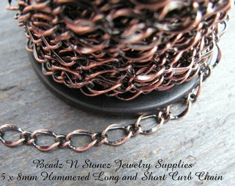 SPOOL - Quality Antique Copper 5x8mm Hammered Long Short Chain