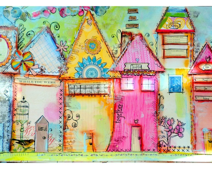 Print mixed media, house prints, Share the Delight