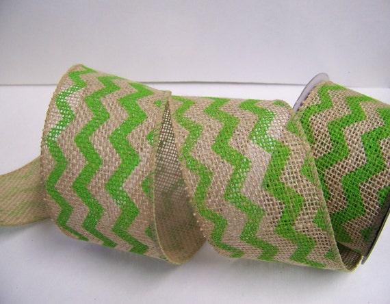 Items similar to burlap ribbon green chevron burlap for Green burlap ribbon