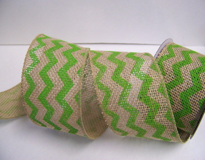 Burlap ribbon green chevron burlap ribbon by sugarplumcottage for Green burlap ribbon