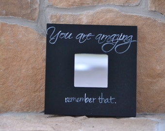 10x10 inch Mirror with Quote, Black