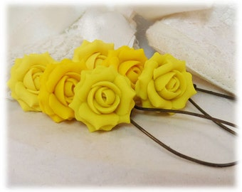 Yellow Rose Dangle Earrings - Yellow Rose Drop Earrings, Yellow Flower Earrings