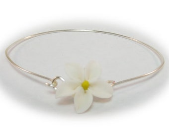 Jasmine Bracelet Sterling Silver Bangle -  Jasmine Jewelry