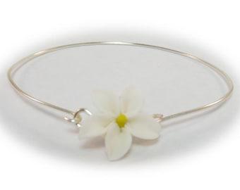 Jasmine Bracelet Sterling Silver Bangle -  Jasmine Jewelry