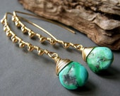Reserved for Denise, Genuine Turquoise Earrings on Gold, Wirewrapped Goldfilled Gemstone Briolette