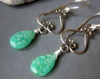 Russian Amazonite Earrings Sterling Silver, Wirewrapped Boho Chandelier Teal Gemstone Briolette Dangle, Teardrop Gemstone Earrings