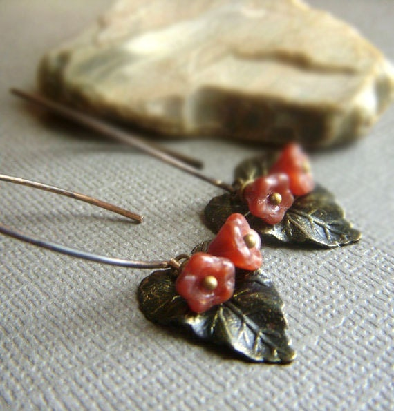 Patina Leaf Earrings on Brass . Leaves and Floral Bohemian Vintage Inspired Dangle . Fallen