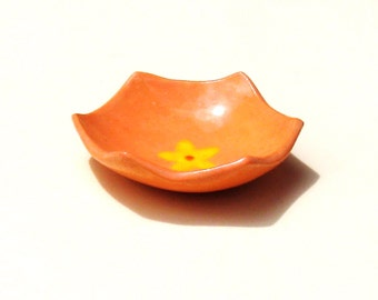 Ring Dish Bowl Orange Hexagon Dish Small Ceramic Stoneware Trinket Gift for Woman Yellow Flower Happy Cute BFF Incense Holder Office Gift