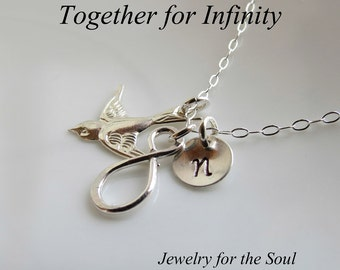 Personalized Bird & Infinity Necklace,Together Forever Necklace,Sterling Silver Personalized Infinity Bird Necklace,Bird Wings Necklace Gif