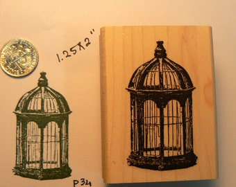 P34 Birdcage rubber stamp