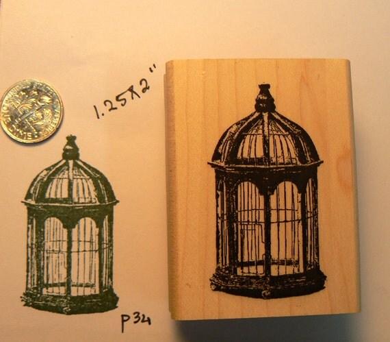 P34 Birdcage rubber stamp