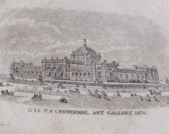 SALE Antique 1876 U.S. Centennial Art Gallery Souvenir Plate 1776-1876...jvw Was 45.99 Now  39.99