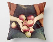 Pillow Cover, Apples Photograph, Fall Decor, Autumn Portrait, Photo Pillow, Country Home, Farmhouse Style, Whimsical, Orange,  Living Room