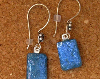 Blue Fused Glass Earrings Dichroic Earrings Glass Earrings Glass Jewelry Blue Earrings Dichroic Jewelry