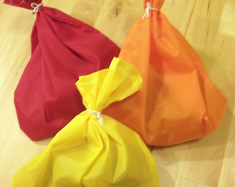4 Reusable RIPSTOP NYLON bags for produce bulk food snacks - Solid Colored use as gift or favor bags