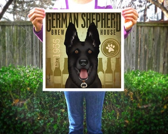 Black German Shepherd Brewing company artwork illustration giclee archival signed artists print  by stephen fowler