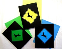 Unique Deer Crossing Sign Blank Note Cards with Envelopes Set of Three Handmade