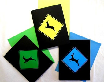 Blank Note Card Set with Unique Deer Crossing Sign Set of Three Cards