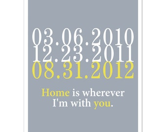 Wedding Gift, Home is Wherever I'm with You, Subway Art, Custom Dates, Subway Dates
