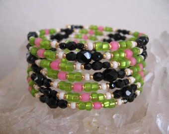 SALE - Memory Wire Coil Bracelet - Pink/Green/Black