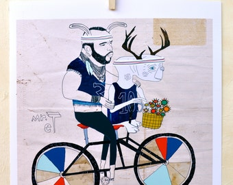 Print, Illustration, 80's Inspired, ET, Mr T, Bicycle art, Retro, Quirky art, Unique gift, Cool wall art, Bike, Besties- Fine Art on Paper