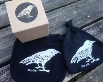 Raven Bib & Hat Set Organic Cotton w/ Gift Packaging