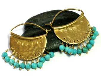 Turquoise Earrings Gold, Turquoise Earring Hoops, Turquoise Jewelry, Bohemian Jewelry, Ethnic Jewelry, Boho Chic Jewelry, Colorful Stone