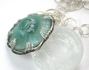 Ancient Roman Glass Necklace, Ancient Roman Glass Pendant, Blue Green Glass Jewelry, Long Silver Necklace,Blue Green Glass, High End Jewelry