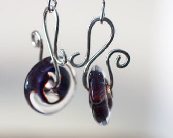 Blueberry Swirl Lamp work Glass and Sterling Silver Handmade Artisan Earrings
