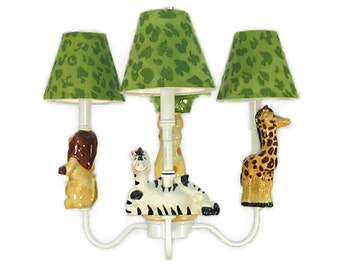 Kids Lighting -  Safari Friends Chandelier - Jungle Theme - Animal Nursery - Childrens Ceiling Fixture - Twin Nursery Decor - Safari Room