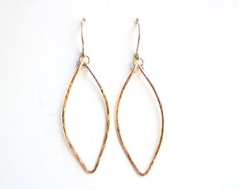 Minimalist Hammered Leaf Earrings - Brass, Gold Fill or Sterling Silver