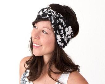 Turban Headband Black and White Abstract