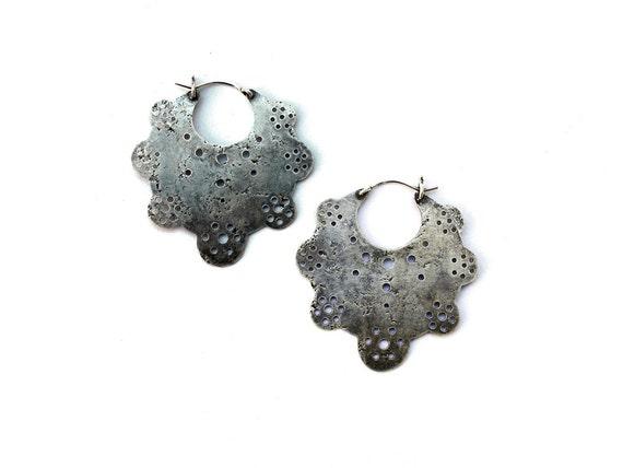 Crop Circle Hoop Earrings // sterling silver