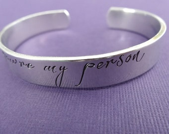 You're My Person Bracelet - Hand stamped Custom Bracelet - Aluminum Cuff - 3/8