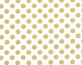 Gold Fabric, Metallic fabric, Nursery Fabric, Polka Dot fabric by Robert Kaufman, Spot On Gold Dot Blanc, Fabric by the Yard, Boho Fabric