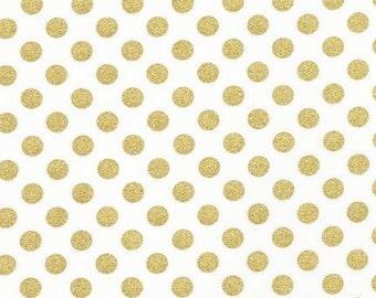 Gold Fabric, Metallic fabric, Nursery Fabric, Polka Dot fabric by Robert Kaufman, Spot On Gold Dot Blanc, Fabric by the Yard, Boho Fabric